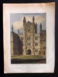 Britton 1812 Antique Hand Col Print. The Schools-Tower, Oxford